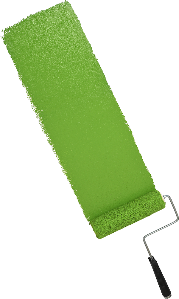 Paint Roller with Green Paint Streak